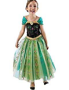 billige Halloweenkostymer-Frozen Kjoler Party-kostyme Flapper Dress Julkjole Jente Barne Prinsesse Lolita Halloween Jul Halloween Barnas Dag Festival / høytid Drakter Grønn Lapper