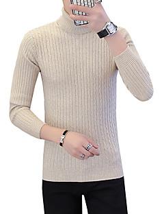 baratos Suéteres & Cardigans Masculinos-pullover skinny de manga longa masculina - gola alta de cor sólida