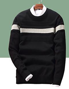 baratos Suéteres & Cardigans Masculinos-Homens Diário Básico Estampa Colorida Manga Longa Padrão Pulôver Branco / Preto / Azul Real XL / XXL / XXXL