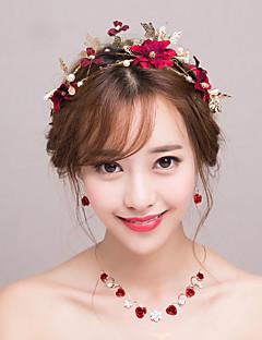 billiga Lolitaaccessoarer-Dekorationer Brud Smyckeset Klassisk Elegant Dam Röd Blommig Vintage Halsband Huvudbonad Örhänge Paljetter Legering Kostymer