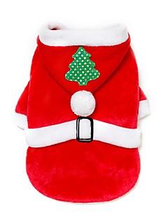 billiga Hundkläder-Hund / Katt Jul Hundkläder Figur / Jul Röd Tyg / Flanelltyg Kostym För husdjur Herr / Dam Ledigt / vardag / Håller värmen / Jul