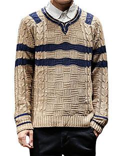 baratos Suéteres & Cardigans Masculinos-homens plus size manga comprida pulôver - gola redonda listrada