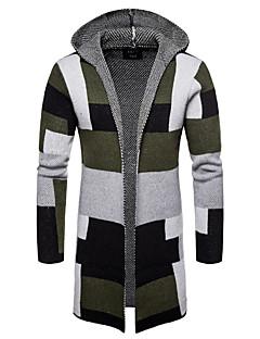 tanie Męskie swetry i swetry rozpinane-długi, bawełniany, luźny długi sweter męski - kolor bloku