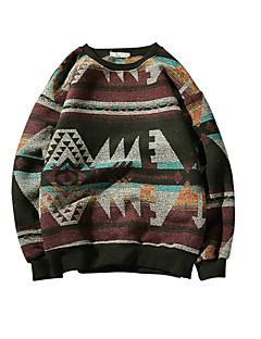 baratos Suéteres & Cardigans Masculinos-Homens Básico Pulôver - Sólido / Geométrica
