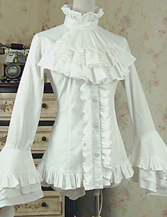 billiga Lolitaklänningar-Söt Lolita Casual Lolita Klänning Prinsess Lolita Victoriansk Dam Blus / Skjorta Cosplay Vit Flamma Ärm Långärmad Kostymer