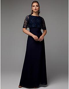 billiga Aftonklänningar-A-linje Prydd med juveler Golvlång Chiffong / Spets Formell kväll Klänning med Bård / Krusad av TS Couture®