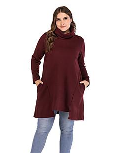 tanie Swetry damskie-Damskie Codzienny Podstawowy Solidne kolory Długi rękaw Regularny Pulower Czarny / Wino XL / XXL / XXXL