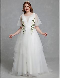 billiga Plusstorlek brudklänningar-A-linje Prydd med juveler Svepsläp Tyll Bröllopsklänningar tillverkade med Spets av LAN TING BRIDE® / Illusion / Vacker i svart