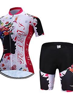 TELEYI Mujer Manga Corta Maillot de Ciclismo con Shorts - Rojo y Blanco  Flores   Botánica Bicicleta Sets de Prendas Transpirable Secado rápido  Deportes ... c76af7708de81