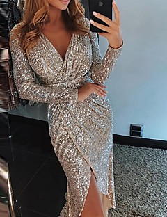 cheap Top Sellers-Women's 2019 Party / Cocktail / New Year Eve / Festival Sexy Asymmetrical Slim Bodycon Dress Sequins / Wrap / Glitter High Waist V Neck Purple Green Champagne L XL XXL