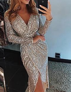 levne Sleva-Dámské Sexy Štíhlý Bodycon Šaty Flitry / Wrap / Glitter Asymetrické Do V Vysoký pas