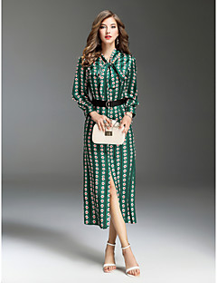billige Bestselgere på salg-Dame Ut på byen Gatemote Tynn Swing Kjole - Multi-farge, Trykt mønster Skjortekrage Midi