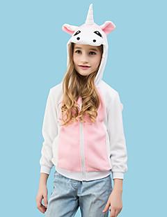 billige Kigurumi-Barne Enhjørning Onesie-pysjamas Polar Fleece Hvit+Rosa Cosplay Til Gutter og jenter Pysjamas med dyremotiv Tegnefilm Festival / høytid kostymer