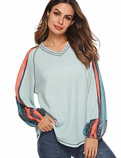 baratos Suéteres de Mulher-Mulheres Diário Moda de Rua Fenda / Estampado Geométrica Manga Longa Padrão Pulôver, Decote V Cinzento / Vinho / Azul Claro M / L / XL