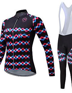TELEYI Women s Long Sleeve Cycling Jersey with Bib Tights - Black Black    White Stripes Bike Clothing Suit Fleece Lining Breathable Winter Sports  Polyester ... 87131ad51