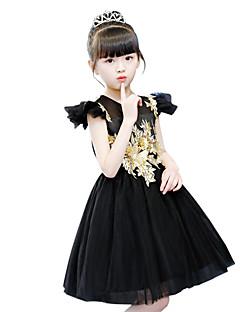 billiga Lolitamode-Svart svan Den lilla svarta Elegant Kostym Flickor Barn Klänningar Maskerad Svart Vintage Cosplay Tyll Ärmlös