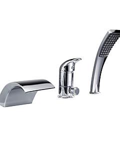 billige Romersk- bad-Badekarskran - Moderne Krom Romersk kar Keramisk Ventil Bath Shower Mixer Taps / Enkelt håndtak tre hull