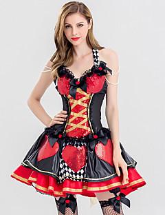 billige Halloween- og karnevalkostymer-hjerterdronning Cosplay Kostumer Dame Voksne Kjoler Jul Halloween Karneval Festival / høytid Blonde Polyester Drakter Rød Kjærlighed