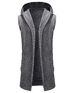 tanie Swetry damskie-Damskie Codzienny Podstawowy Solidne kolory Bez rękawów Regularny Sweter rozpinany, Kaptur Jasnobrązowy / Jasnoszary M / L / XL
