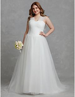 billiga Plusstorlek brudklänningar-A-linje V-hals Hovsläp Tyll Bröllopsklänningar tillverkade med Veckad av LAN TING BRIDE®