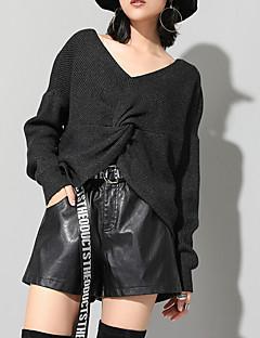 tanie Swetry damskie-Damskie Codzienny Moda miejska Solidne kolory Długi rękaw Regularny Pulower Czarny / Żółtobrązowy Jeden rozmiar