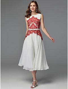 billige Mønstrede og ensfargede kjoler-A-linje Besmykket Telang Chiffon / Blonder Fargeblokk Cocktailfest Kjole med Blonder / Belte / bånd av TS Couture®
