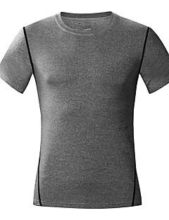 billige Løbetøj-Herre Rund hals Løbe-T-shirt - Hvid, Sort, Mørkegrå Sport Helfarve T-Shirt Løb, Fitness, Træningscenter Kortærmet Sportstøj Letvægt, Åndbart, Hurtigtørrende Elastisk