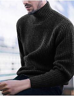 tanie Męskie swetry i swetry rozpinane-Męskie Codzienny Podstawowy Solidne kolory Długi rękaw Regularny Pulower Czarny / Czerwony / Szary XL / XXL / XXXL