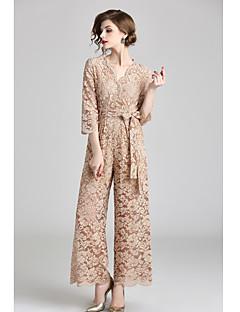 baratos Vestidos de Formatura-Macacão Decote em V-wire Até o Tornozelo Renda Vestido com Faixa / Fita de LAN TING Express