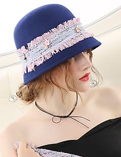 billiga Lolitamode-Den underbara fru Maisel Cloche Hat hatt damer Vintage Femtiotal Dam Blå Färgblock Keps Ull Kostymer
