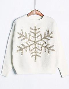 tanie Swetry damskie-Damskie Codzienny Moda miejska Geometric Shape Długi rękaw Regularny Pulower, Okrągły dekolt Rumiany róż / Beżowy Jeden rozmiar
