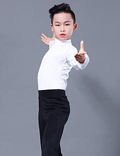 billige Danseklær til barn-Latin Dans Topper Gutt Ytelse Melkefiber Kombinasjon Langermet Topp