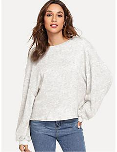baratos Suéteres de Mulher-Mulheres Diário Básico Sólido Manga Longa Padrão Pulôver Branco / Cinzento / Amarelo M / L / XL