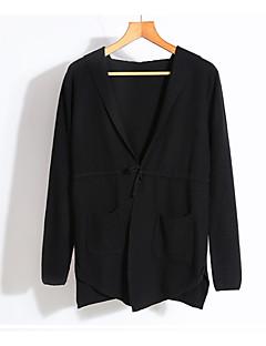 tanie Swetry damskie-Damskie Codzienny Solidne kolory Długi rękaw Regularny Sweter rozpinany Czarny / Szary Jeden rozmiar