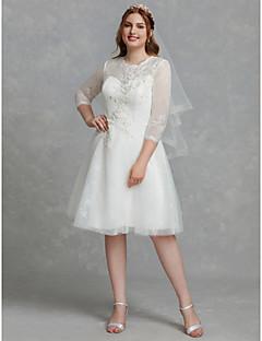 billiga Brudklänningar-A-linje Prydd med juveler Knälång Spets / Tyll Bröllopsklänningar tillverkade med Bård / Spets / Spetsinlägg av LAN TING BRIDE® / Illusion / Liten vit klänning