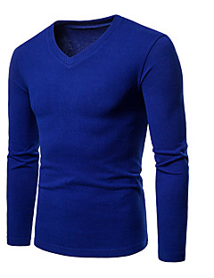 cheap 2/19-Men's Basic / Street chic Asian Size T-shirt - Solid Colored / V Neck / Long Sleeve