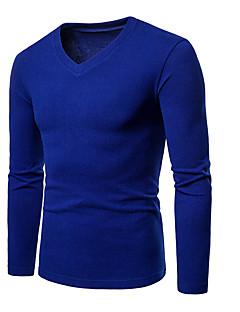 billige Herrers Mode Beklædning-Herre - Ensfarvet Basale / Gade Asiatisk størrelse T-shirt / V-hals / Langærmet