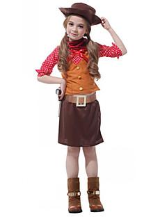 billige Halloweenkostymer-West West Cowboy Cowboy Kostymer Jente Barne Drakter Aktiv Jul Halloween Karneval Festival / høytid Polyester Drakter kaffe Polkadotter