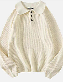 baratos Suéteres de Mulher-Mulheres Diário Sólido Manga Longa Padrão Pulôver Branco / Preto L / XL / XXL