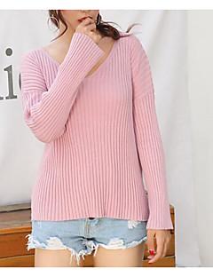 baratos Suéteres de Mulher-Mulheres Diário Sólido Manga Longa Padrão Pulôver Marron / Branco / Rosa Tamanho Único