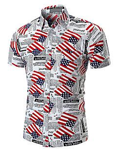 رخيصةأون قمصان رجالي-رجالي قميص طباعة هندسي / ألوان متناوبة