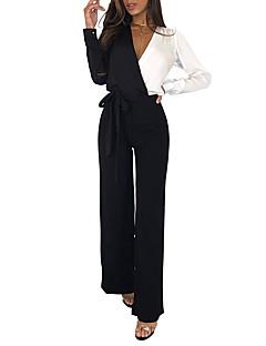 Χαμηλού Κόστους Γυναικείες μακριές και μίνι ολόσωμες φόρμες-Γυναικεία Καθημερινά Βασικό Θαλασσί Μαύρο Ρουμπίνι Φόρμες, Συνδυασμός Χρωμάτων Φιόγκος M L XL Μακρυμάνικο Φθινόπωρο