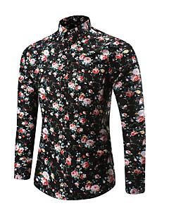 cheap Tops-Men's Military Plus Size Shirt - Geometric Print / Long Sleeve
