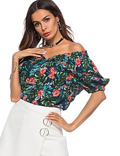 billige Bluse-kvinders asiatiske størrelse slank bluse - geometrisk off skulder