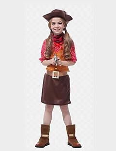 billige Halloweenkostymer-West Cowboy Kostymer Jente Barne Drakter Jul Halloween Karneval Festival / høytid Polyester Drakter kaffe Polkadotter