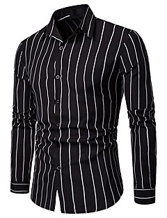 cheap Dress Shirts-Men's Work Business Asian Size Slim Shirt - Striped / Long Sleeve