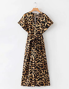 billige Jumpsuits og sparkebukser til damer-Dame Daglig Gul Kjeledresser, Leopard S M L Kortermet