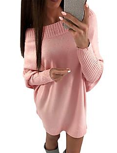 tanie Swetry damskie-Damskie Codzienny Podstawowy Solidne kolory Długi rękaw Regularny Sweter rozpinany, Z odsłoniętymi ramionami Jesień Rumiany róż L / XL / XXL