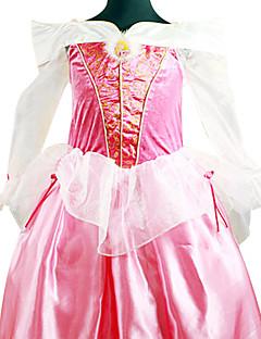 billige Barnekostymer-Prinsesse Eventyr Aurora Cosplay Kostumer Party-kostyme Barne Halloween Karneval Barnas Dag Festival / høytid Satin Drakter Rose Rosa Ensfarget Blonder