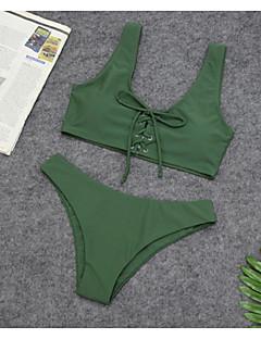 billige Bikinier og damemote-Dame Grunnleggende Grønn Hvit Gul Cheeky Bikini Badetøy - Ensfarget Trykt mønster S M L